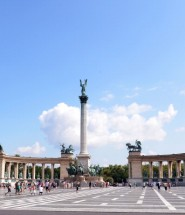BUDAPEST, HUNGARY - JULY 24:  Tourists and locals walk across Heroes' Square past Millenium Monument during previews ahead of the Hungarian Formula One Grand Prix on July 24, 2014 in Budapest, Hungary.  (Photo by Lars Baron/Getty Images)